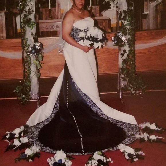 Navy Blue Platinum And White Wedding Gown